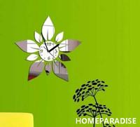 Silver Modern Stylish Leaf Leaves Flower Round Art 3D Crystal Mirror Wall Clock Wall Sticker Living Room Bedroom Decor