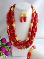 Amazing fashion new design, African Nigerian red coral jewelry set for wedding or party No-2265