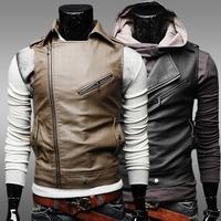Men's 2014 New Fashion Male's Autumn Winter Leather Jacket Multiple Zipper Large Lapel Slim Leather Vest Size M-XXL ZPY24