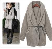 Soft comfortable Women Warm Hooded Fluffy Faux Fur Coat Poncho Jacket Coat