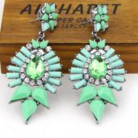 new 2014 shourouk earrings water drop resin green earrings for women 1pcs wholesale