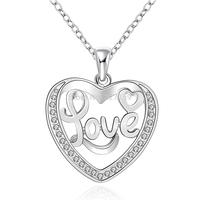 "Heart LOVE 18""  Women's Necklace Chain Pendant  925 Sterling Silver Jewelry Zircon Crystal N634"
