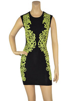 Free shipping 2014 New Women's Green & Black Print Sleeveless Bandage Dress HL Sexy Celebrity Cocktail Party Prom Dresses
