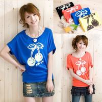 A22*blusas femininas 2014 Women's Lovely Cherry Print Cotton T Shirts White/Blue/Black Tops Short sleeves Casual Tees Blouses