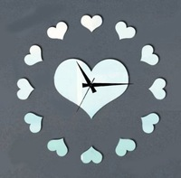 Silver Love Hearts Circle Love Heart Art Mordern Luxury 3D Crystal Mirror Wall Clock Wall Sticker Living Room Bedroom Decor