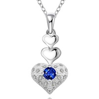 """Charming Heart 18""""  Women's Necklace Chain Pendant  925 Sterling Silver Jewelry Blue Zircon Crystal N640"""