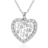"""Hollow Heart 18""""  Women's Necklace Chain Pendant  925 Sterling Silver Jewelry Zircon N642"""