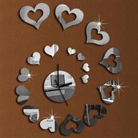 Silver Hearts Love Heart Art Mordern Luxury Design Removable 3D Crystal Mirror Wall Clock Wall Sticker Living Room Bedroom Decor