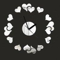 Silver Creative Love Hearts Circle Round Art DIY Removable 3D Crystal Mirror Wall Clock Wall Sticker Living Room Bedroom Decor