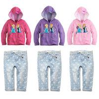 2014 baby girl clothing set girls Frozen princess elsa anna coat+jeans 2pieces kids clothes sets coats pants children tracksuit