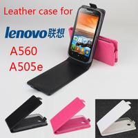 Lenovo A560 A505e Case Original High Quality Leather Flip Case Cover For Lenovo A560 A505e Smart Phone 3-colors Free Shipping