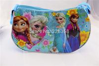 10pcs/lot Frozen Half Moon Bag/kids Snow Queen shoulder bags/Children princess Elsa Anna handbags party supplies,24*12cm