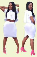 Wholesale Hot 2014 New Fashion Women Sexy Slim Two Pieces Dress Ladies High-Necked Bandage Dress Short Sleeve White Vestios 5982