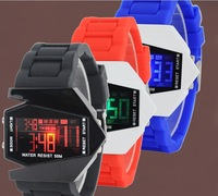 Drop shipping Aircraft LED Watches Digital hours Stainless steel Case Sports Watch Back Light rubber strap Casual watches