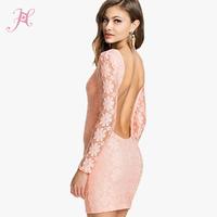 2014 Women Autumn Dress Light Pink Fresh Cyan Backless Lace Club Mini Dress Brand Desigual Vestidos