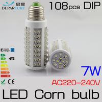 5x7W 10W E27 108pcs DIP LED Corn Bulb Lamp Light 220-240V LED Lampadas ,White/Warm White 360 degree High Bright Free Shipping