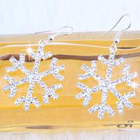 Christmas gifts Fashion Personalized luxury Full Shiny transparent rhinestone snowflakes Drop earrings jewelry women 2014 M11