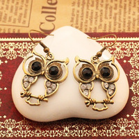 Free shipping New Arrival Fashion vintage style black gem eyes rhinestone owl Drop Earrings jewelry for women 2014 Wholesale M11