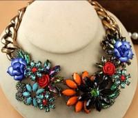2014 NEW HOTSale gem Rhinestone Big Brand ZA necklace statement necklace Fashion Jewelry  for women