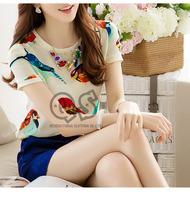 fashion short sleeve colorful bird print chiffon women blouse & shirts o-neck cute tops Q116