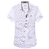2014 new cotton men's shirt skull Polka Dot Slim short-sleeved shirt KYLKEJ2521