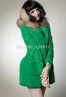 2014 Europe and America Winter Coat New Shrug Raccoon Fur Collar Down Coat Big Size Long Down Jacket Thick Slim Women Parkas