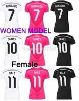 Women Real Madrid  James Ronaldo Bale Sergio Ramos 2015 Home White Girl Soccer Jersey Female Camiseta 14 15 Away Pink 3rd Black