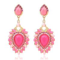 new design 2014 highly quality fashion pink heart resin dangle earrings for women