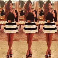 New Fashion Dress 2014Autumn Women Dress Plus Size XL Long Sleeve Striped O-neck Casual Slim Evening Party Club Dress Vestido de