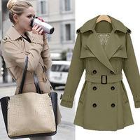 women's 2014 new coat winter self-cultivation double breasted belt V collar  trench coat  women khaki jackets
