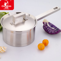 Create one right angle 304 stainless steel milk pot soup pot cooker pot thicker double bottom pot 18cm Universal