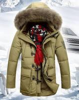 JK-358 Real Nature Big Fur Hood Men's Down Jacket For Winter Detachable Hood Down Coat Outwear White Duck Down Parkas M-3XL