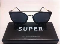 Vintage/Retro 80's SUPER Giaguaro Caffelatte Women/Female Round Shape Withe Meal stripe Sunglasses 52105