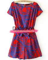 Overcalls Womens Playsuit Casual High Street Novelty 2014 Summer Red Short Sleeve Belt Geometric Print Crop Rompers Jumpsuit
