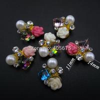 MNS622M   MIX  glitter rhinestones alloy 3d nail art flowers charms for nails decoration 50pcs