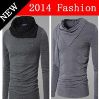 2014 fashion t shirt clothing t-shirt men turn-down collar long sleeve fitness slim fit korean knitted cotton casual 918LP