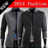 2014 fashion blazer suits for men terno masculino blazers jacket patchwork autumn stand collar pockets slim fit button 917LP