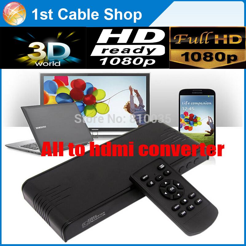 Free shipping 1PCS all video to hdmi converter scaler MHL/USB/VGA/RCA to HDMI Coaxia audio converter in gift box(China (Mainland))