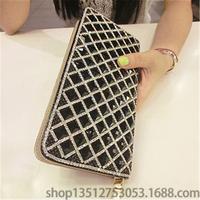 Crazy cat lady purse bag 2014 new retro edge plaid long section clutch purse clutch rhinestone diamond