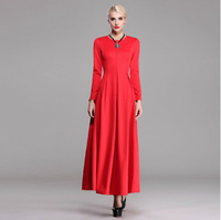 2014 New autumn winter long dress woman's red party dress slim long sleeve full length dress plus size O-neck elegant dress