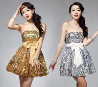 Ladies Lovely Sparkling Dress The Host Clothing Shiny Dress Bling Bling Women Vintage Dress for Formal Occasion
