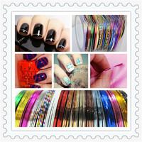 HOT SALE 20 Mix Colors/lot Striping Tape Metallic Yarn Line Nail Art Nail Sticker Decals 1mm*20m (20pcs/lot)