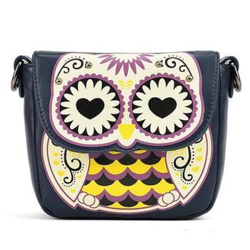 Горячий новый 2014 лето сумки мультфильм сова сумки женские сумки небольшой плеча женщины кожаные сумки женщины сумка почтальона сумочки