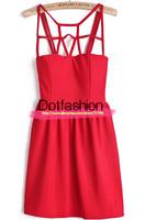 Novelty Designer Celebrity Party Wedding Women Sexy 2014 Desigual Summer Prom Sale Brand Red Spaghetti Strap Hollow Slim Dress