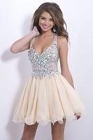 2014 fashion strapless chiffon mini dresses Beige Crystal short Homecoming dress sexy V-neck