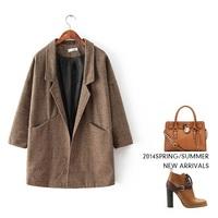 plaid Medium long woolen coat 2014 NEW wool coat women jacket autumn overcoat Woollen coat loose A line women's winter coat gift