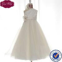 Goingwedding One Shoulder Pleated Satin Beaded Details Flower Girl Tulle Dress Tulle Flower Girl Dress Pattern HT054