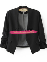 2014 Fall Fashion For Women Office Uniform Style Designs Brand Female Business Suit Collarless Ruched Sleeve Crop Back Blazer