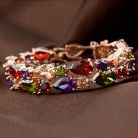 Bracelets For Women Rushed Pulseiras Femininas 2014 New Luxury Monalisa Bracelet High Zircon Rose Filled Rainbow Chain