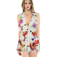 Women Floral Print Jumpsuit Deep V Neck Printed Romper Ruffles Playsuit Short Pants Celebrity Style Elastic Waist  Macacao